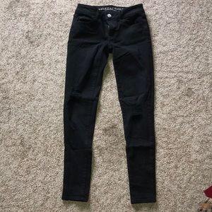 American Eagle super stretch black ripped jean